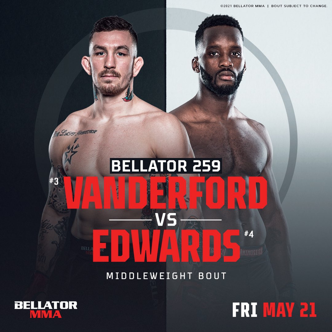 Top-ranked middleweights @AustinV170MMA and @FabianEdwards24 will do battle in the #Bellator cage on Friday, May 21st at #Bellator259. #MMA https://t.co/BzzMyhg9G4