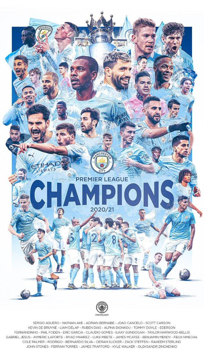 Campeones ! Orgulloso de este equipo! Cinco #PremierLeague con #ManCity // Champions! Proud of this team! Five #PremierLeague titles with #ManCity 🏆🏆🏆🏆 🏆 https://t.co/bCTt4rpO6t