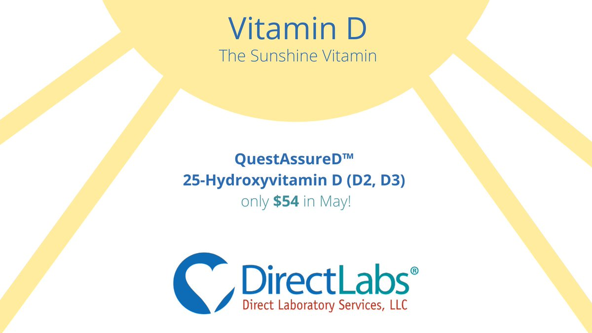 Did you know just 15 minutes of sunlight exposure three times weekly is enough to prompt your body to produce the proper amount of vitamin D? We're offering our QuestAssureD™ 25-Hydroxyvitamin D (D2, D3) at a 32% discount all month.  Learn more and order: https://t.co/RMOrQzFNpq https://t.co/CzqiDPqRW6