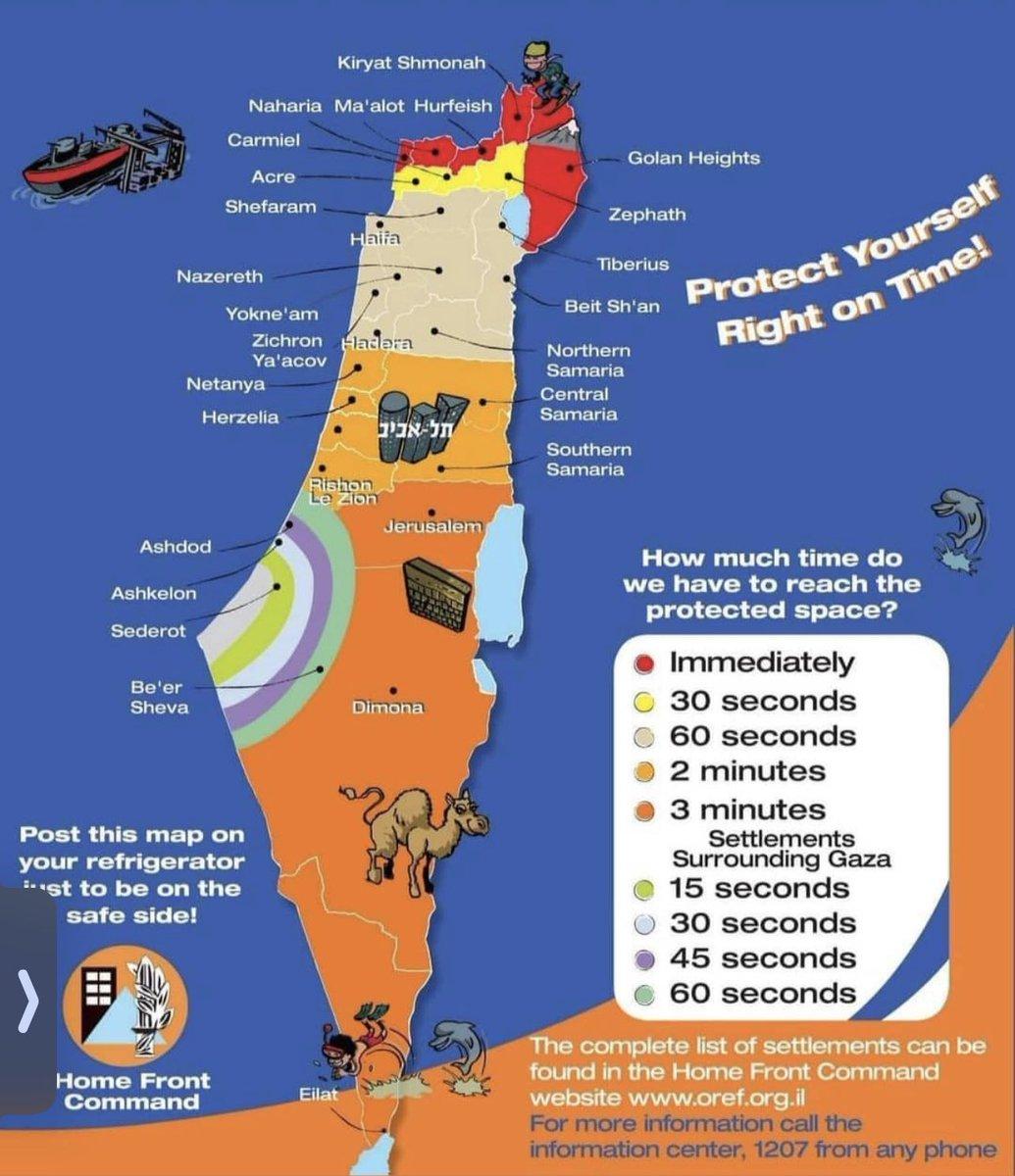 Zoveel tijd heb je in Israël om naar de schuilkelder te rennen als Hamas een raket naar jouw regio afvuurt. #Israel #Gaza https://t.co/hG2OVpwvgN