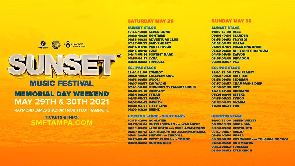 Sunset Music Festival 2021 schedule