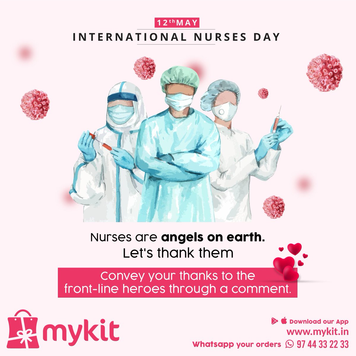 Nurses are angels on earth. Let's thank them. Convey your thanks to the front-line heroes through a comment.  International Nurses Day  #mykitcart #mykit  #internationalnursesday #nursesday #coronawarriors #covid19  #kannur #kerala #onlishopping #brandyourhome https://t.co/lPVCWLq3Sz