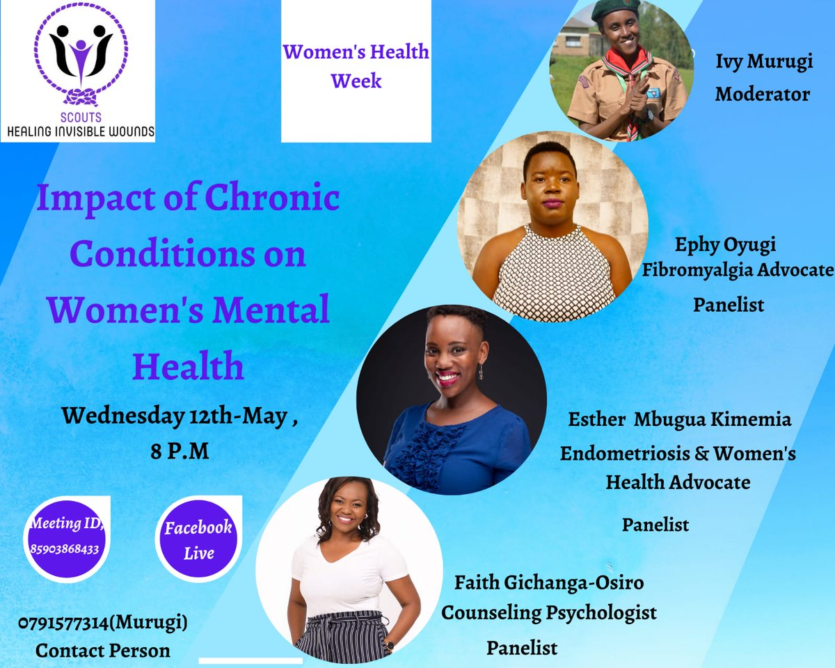Mental health conditions respect no gender, all are at risk, women despite been vulnerable remain resilient amidst all these challenges.  Join us at 8PM as we tackle the effects of chronic illnesses on women's mental health... #WomenAndMentalHealth #MentalHealthAwarenessWeek