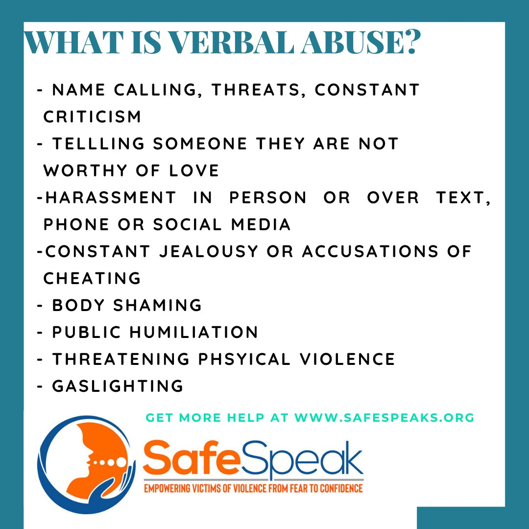 Unlike physical abuse, verbal abuse doesn't give rise to broken limbs, black eyes, or bruises. Yet it can be just as emotionally disturbing and often leads to anxiety, fear, despair, or depression. - @BritHereNow Learn the signs and seek help:  #GBV #abuse