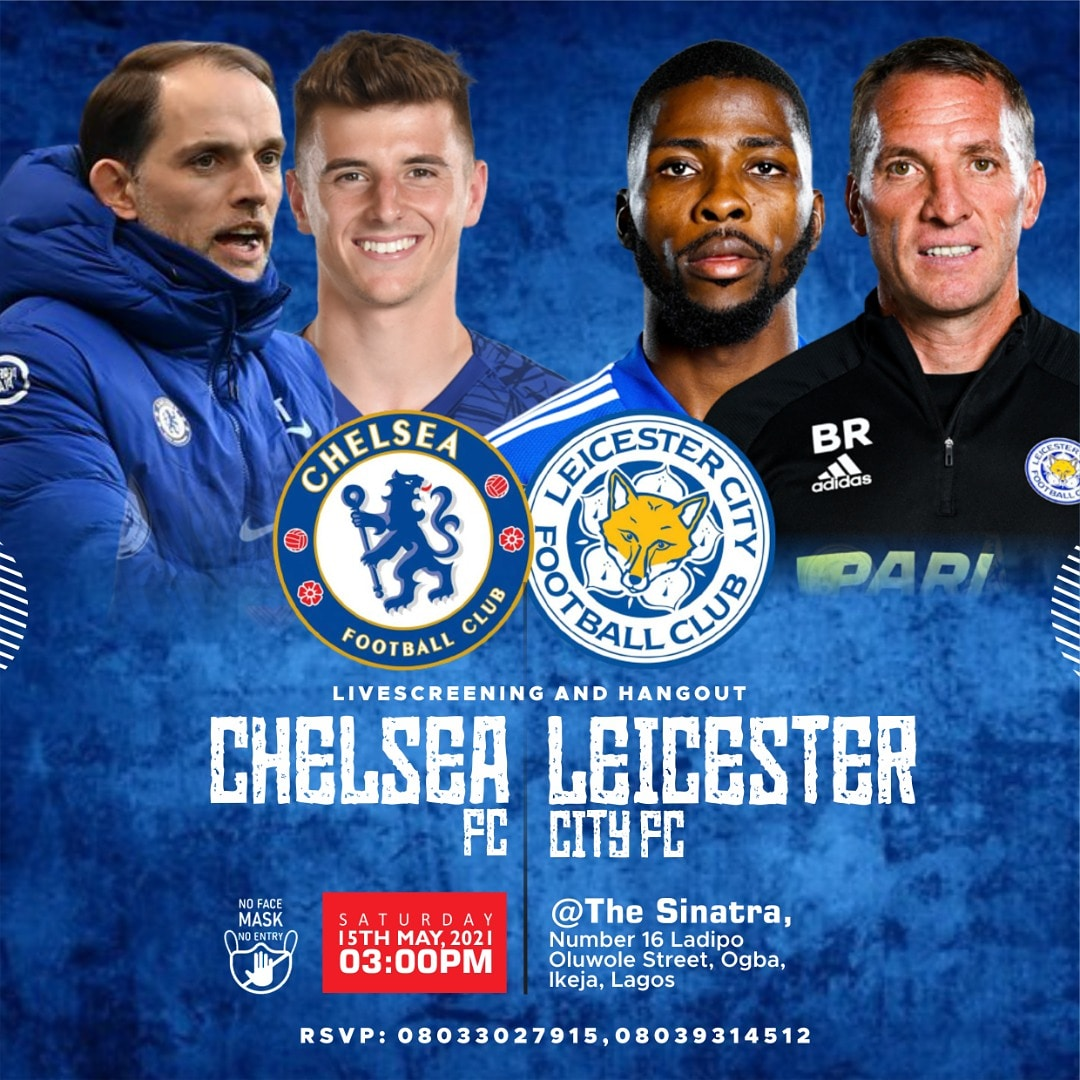 FA CUP FINAL LIVE SCREENING  Join us this Saturday for the @EmiratesFACup final match between @ChelseaFC and @LCFC at Sinatra Place, 16B, Ladipo Oluwole street, off Adeniyi Jones, opposite Chelsea House, Ikeja, Lagos. Match kicks off at 5.15pm, pre match activities starts by 3pm. https://t.co/miTytJiF4W