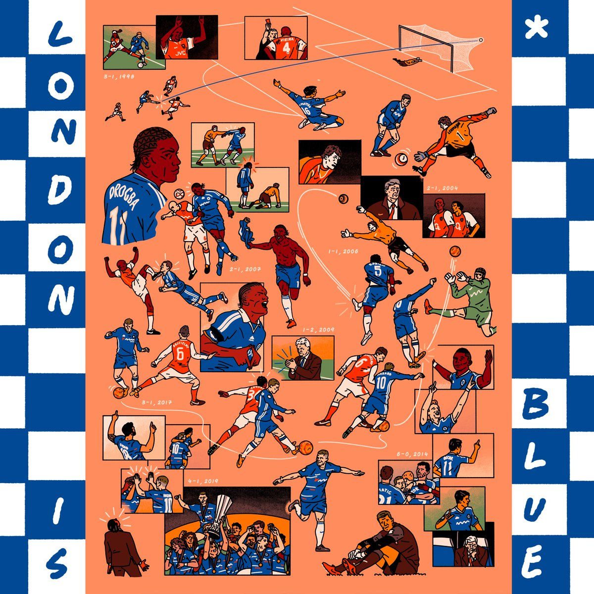 """""""London is Blue"""" by illustrator @cjholme. 🎨   Chester interprets iconic #CHEARS moments for #ChelseaCreates, can you identify them?    Comment below. 👇 https://t.co/DjykMtZjZK"""