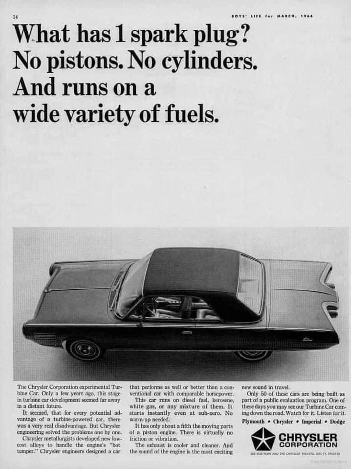Chrysler Corporation touting the development of the Turbine engine. It didn't take off in Chrysler Automotive but Chrysler Defense used it in their futuristic main battle tank prototype also known today as the Abrams.   #vintageadvertising #Chrysler #madeindetroit #turbine #70s https://t.co/sgSlvYA5fV