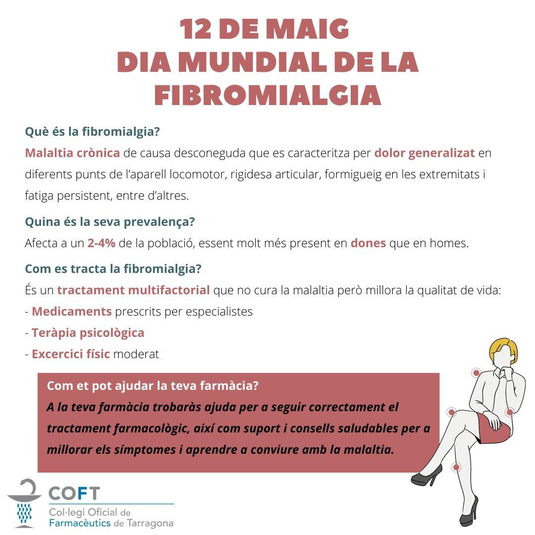 test Twitter Media - 📣 Avui 12 de maig és el Dia Mundial de la Fibromialgia  Malaltia crònica de causa desconeguda caracteritzada per dolor generalitzat.  Com et pot ajudar la teva farmàcia❓  ➡️ Seguir correctament el tractament farmacològic ➡️ Consells saludables i suport  #DiaMundialFibromialgia https://t.co/dZ7CnyhptE