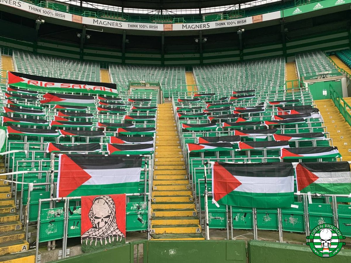 The North Curve is flying the flag for Palestine at tonight's Celtic game https://t.co/Rxmv0Jqo7J