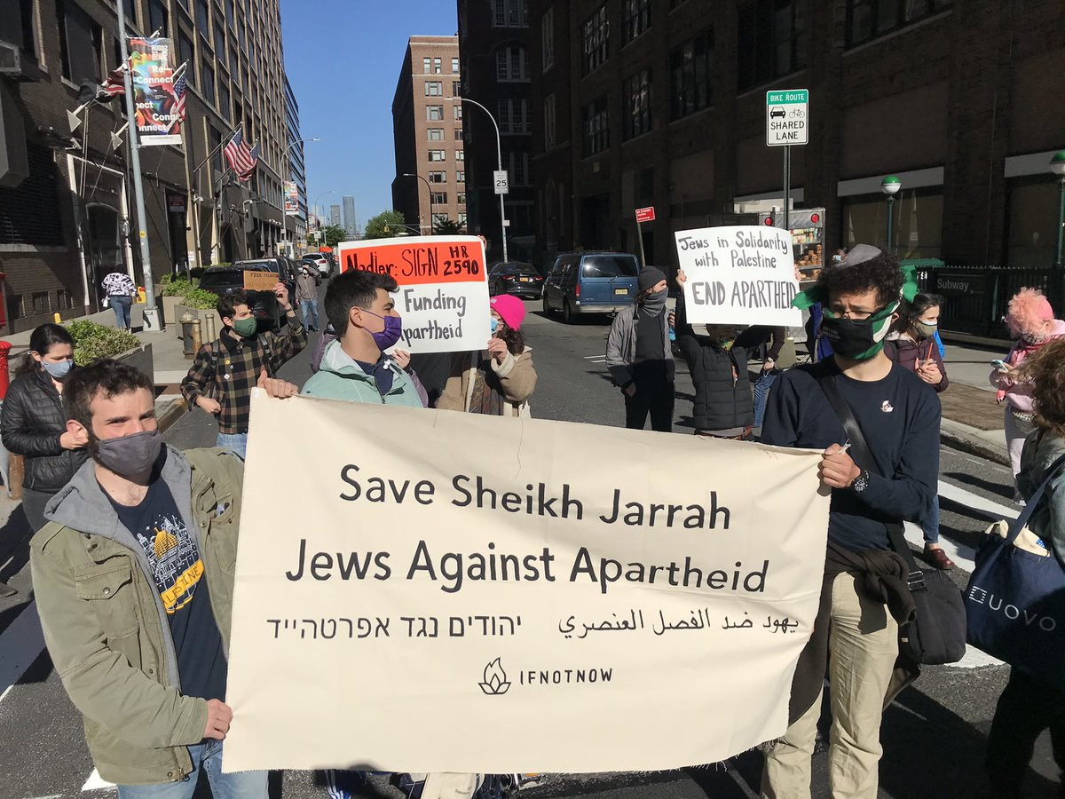 NOW: American Jews blocking traffic outside @RepJerryNadler's office, demanding he urge @POTUS to work for a ceasefire and an end to Israeli displacement of Palestinian families.  We called on Nadler to sign #HR2590 to ensure the US is not funding apartheid. #SaveSheikhJarrah https://t.co/wOEVYfi6wv