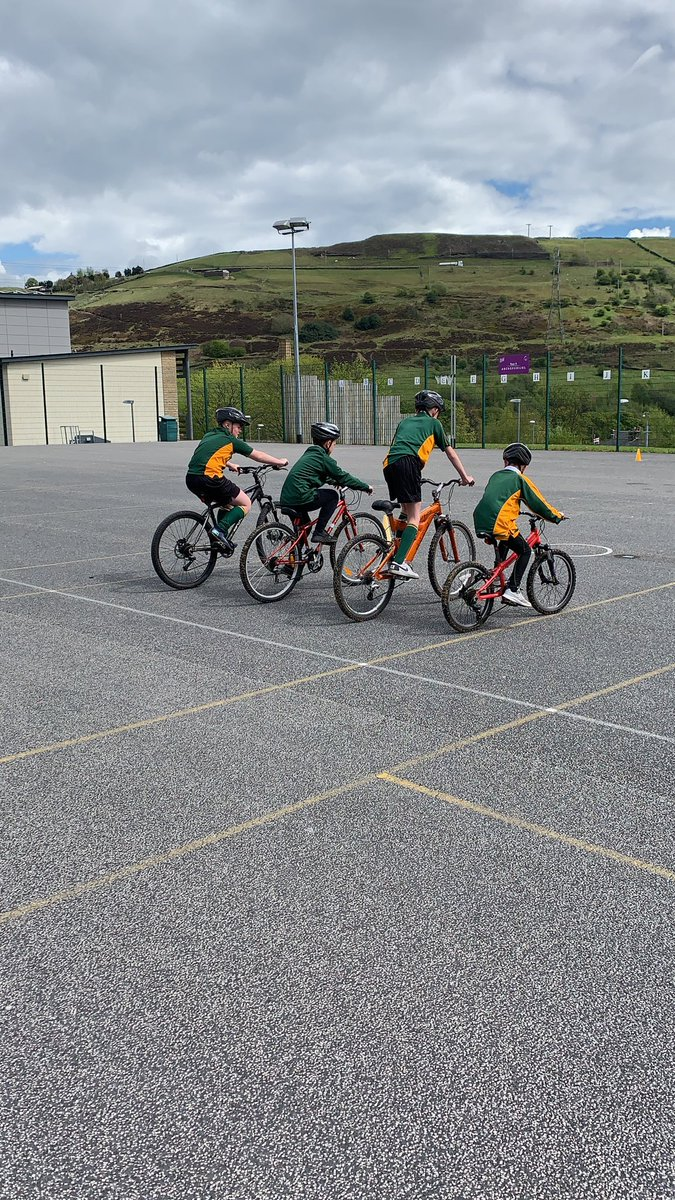 Year 7 are having a great time cycling as part of this afternoon's PE clubs!