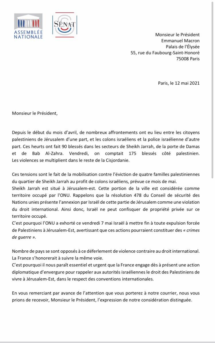 J'ai signé ce courrier a @EmmanuelMacron de nos collègues @ElsaFaucillon et @BrunoJoncour sur la situation à Jérusalem-Est