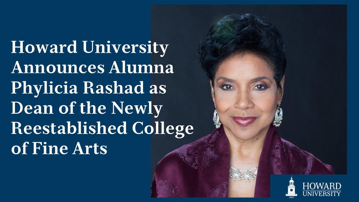 We are pleased to announce that legendary actress and alumna Phylicia Rashad will serve as Dean of the Howard University College of Fine Arts. Read more here: https://t.co/4H0jhg1kRf https://t.co/uWQsDeESHB