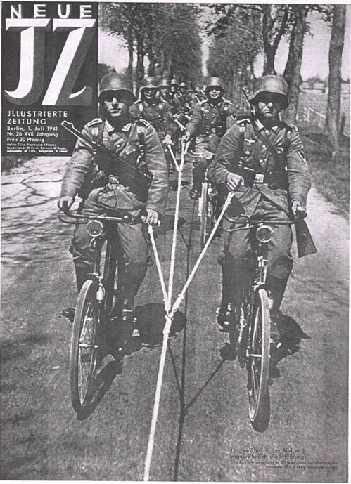 """German propaganda demonstrating advances by troops on bicycles being towed by trucks in 1941. The Japanese invasion force in Malaya would conduct a form of """"bicycle blitzkrieg"""" achieving a high tempo of operations that Malaya Command couldn't contain.   #WW2 #blitzkrieg #cycling https://t.co/5iFveMJJCW"""