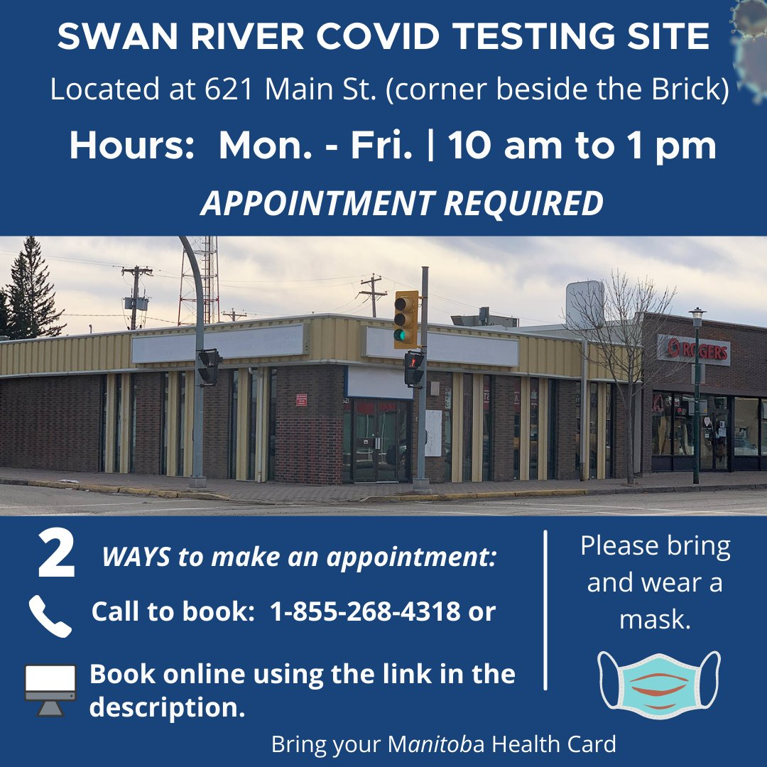 #SwanRiver COVID testing site requires an appointment.  Call: 1-855-268-4318 to book or online at: https://t.co/mOyDO9ctn3    More testing site info:  https://t.co/QjMPFzDIiD Town of Swan River Swan Valley School Division https://t.co/T0q84qsT8V