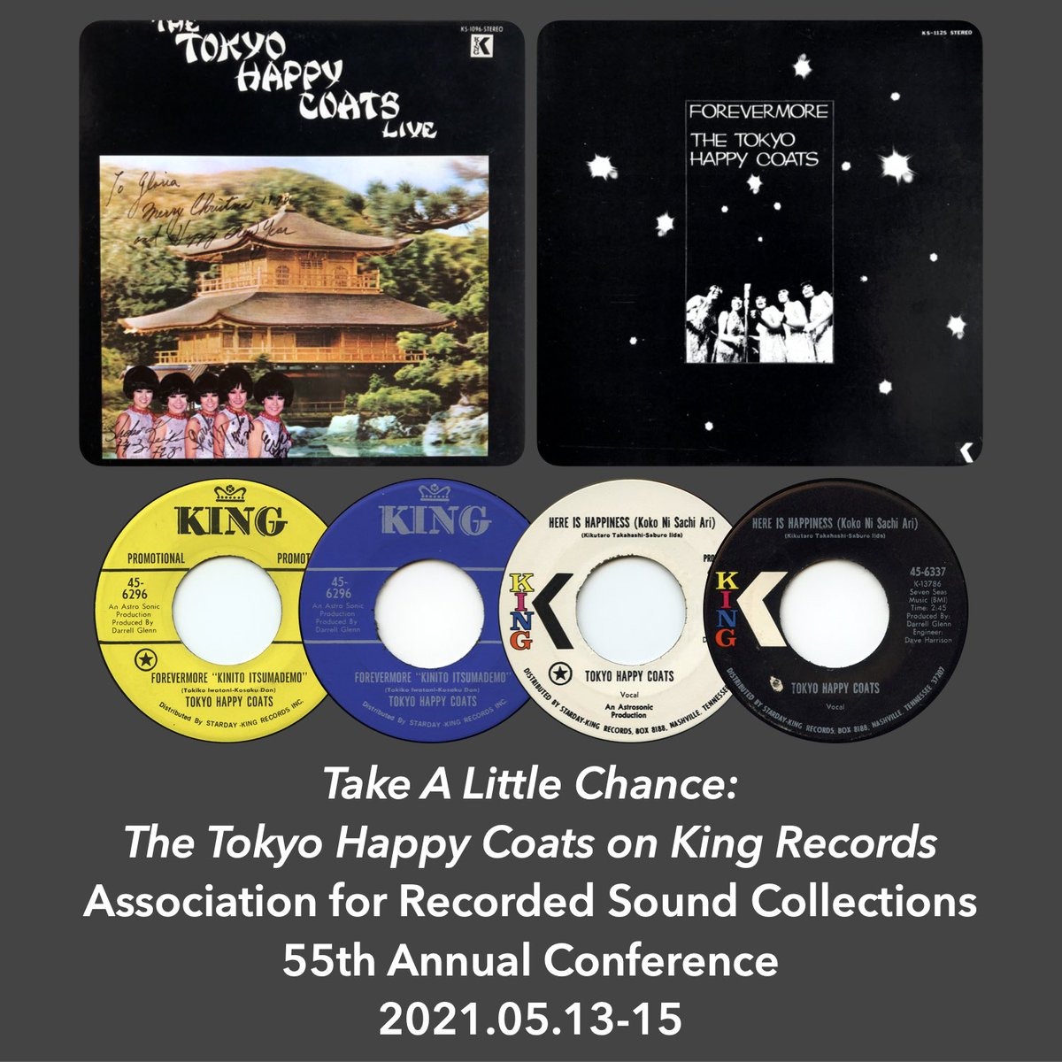 """This week! """"Take A Little Chance: The Tokyo Happy Coats on King Records"""" will be presented as part of the """"Asian Artists & Recordings"""" panel at the @arscaudio 2021 Virtual Conference. The panel is scheduled for 15 May 2021 at 6:15-7:45 PM EDT USA. https://t.co/ypOuW5F6tK"""