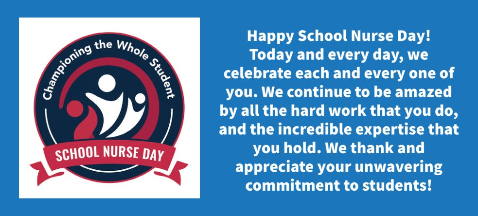 Thank you to all of our school nurses for keeping our students healthy and safe!