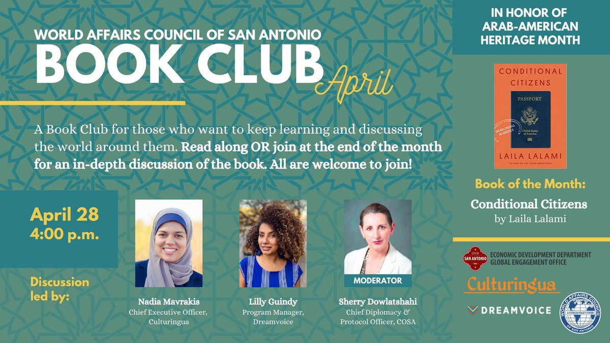 Celebrating National Arab American Heritage Month! World Affairs Council SA hosted, alongside Culturingua and DreamWeekSA, a bookclub event at the end of April celebrating Arab Heritage. Click the link here to watch the Bookclub discussion! #ArabAmericanHeritageMonth https://t.co/vqHuMC3dYP
