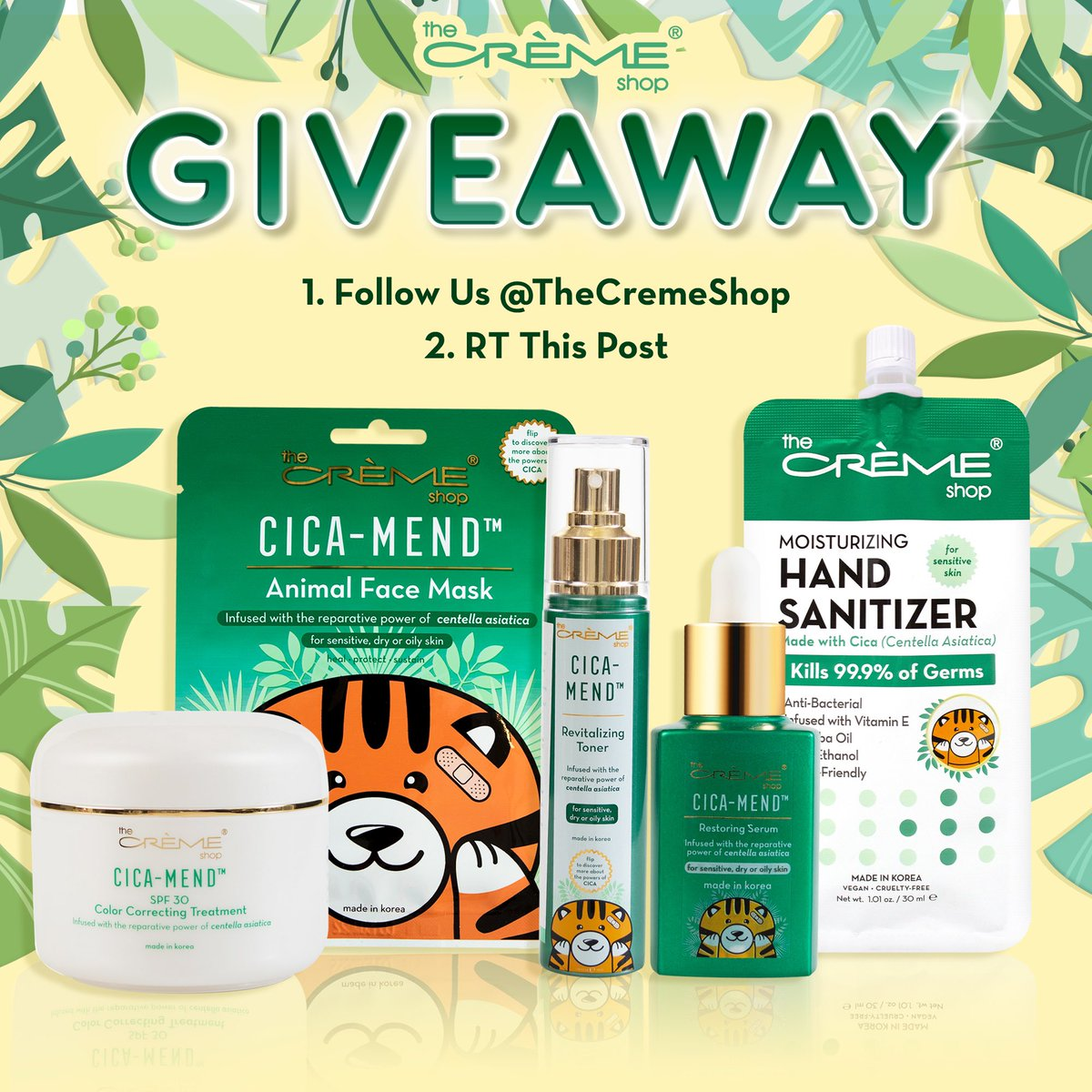 the ultimate k-beauty #giveaway 🍃✨ enter to win our CICA-MEND best sellers! our secret to radiant, clear skin 🤫  HOW TO ENTER: 🌱 FOLLOW us @thecremeshop 🌱 RT this post  we will DM the winner next wednesday! tag a friend for an extra entry 👀 https://t.co/WK65IOcXKu https://t.co/bTz3sASurW