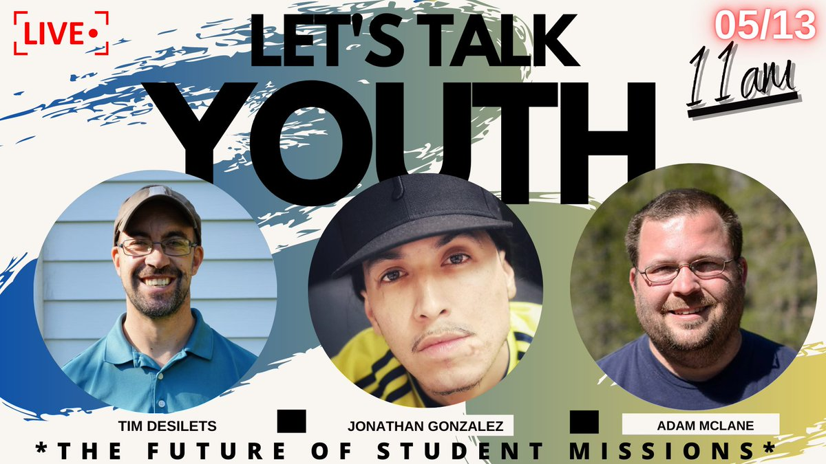 YOUTH MINISTRY FRIENDS - Let's Talk Youth: What Does The Future Of Student Missions Look Like? Whether You Join Me Live Or Catch The Replay You Won't Want To Miss This Conversation with @TimDesilets and @mclanea - May 13th at 11am eastern time! https://t.co/CKi4VyhLFw