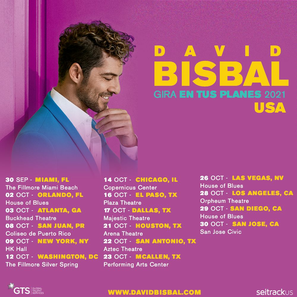 .@davidbisbal hará vibrar los escenarios con la Gira #EnTusPlanes 2021 por Estados Unidos. 🇺🇸  Consigue tus boletos 👉🏻