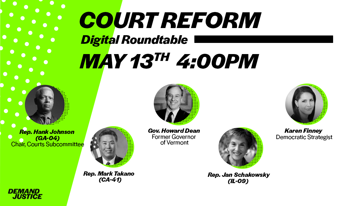 NEW: @RepMarkTakano and @janschakowsky will join the digital roundtable on May 13th at 4pm.   We'll also hear from @RepHankJohnson, @GovHowardDean, and @finneyk.  If you care about restoring balance to the Supreme Court, you won't want to miss it: https://t.co/b4q4XK7Bl7 https://t.co/ajwl23YP4t