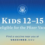 Adolescents 12 and up can now get the Pfizer COVID-19 vaccine. It's safe, easy, and it protects kids and the people around them. Find a vaccine near you at https://t.co/S2DQV6MlBv.