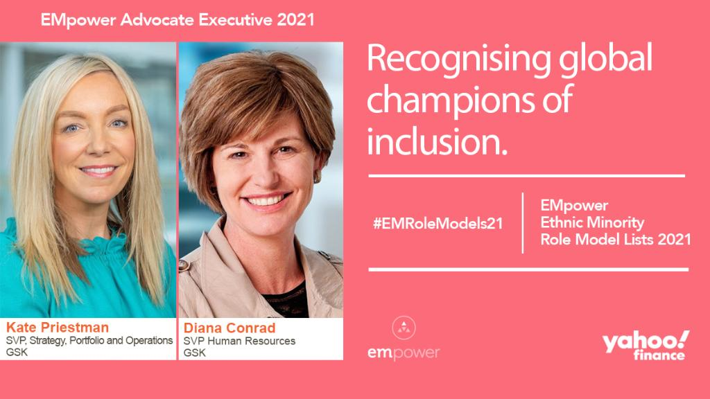 Congratulations to Kate and Diana for being named Advocate Executives in the @EMpoweriB #EMRoleModels21 list ✨ supported by @YahooFinance. At GSK, we all work together to deliver a more equitable workplace.👏 https://t.co/BnSg9J1NVW https://t.co/x4Tr5Yl3nL