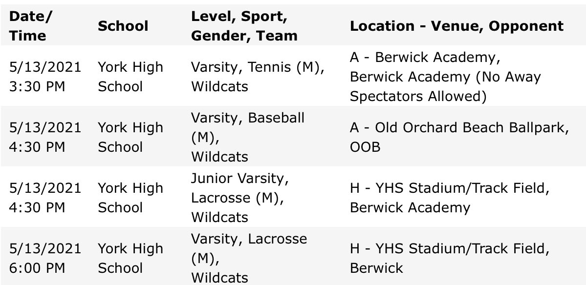 test Twitter Media - Wildcats in action today: Women's Varsity Tennis 3:30 at Berwick Academy, @YorkBaseballME Varsity 4:30 at OOB, @Yorklaxboys HOME JV 4:30 Varsity 6pm Upper Field! Go Cats! @YHSWildcats https://t.co/ZzNEgaq0sv