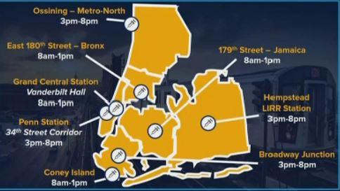 NEW: 1,112 people vaccinated at subway, Metro North, LIRR hubs on first day of pilot program. MTA Vax program runs through Sunday #nbc4ny #lirr #metronorth #nyc