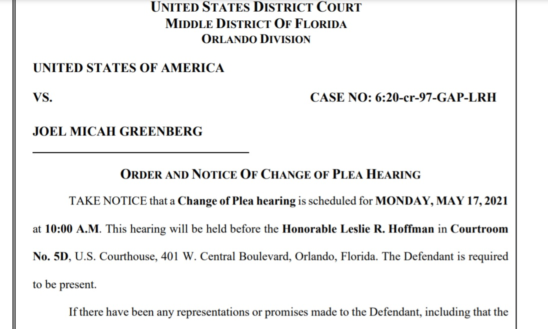 !! ALERT:   Court schedules *PLEA HEARING* for Monday at 10am in fraud and sex trafficking case of Joel Greenberg, an associate of Rep Matt Gaetz (R-FL) https://t.co/aIB9QjsbHN