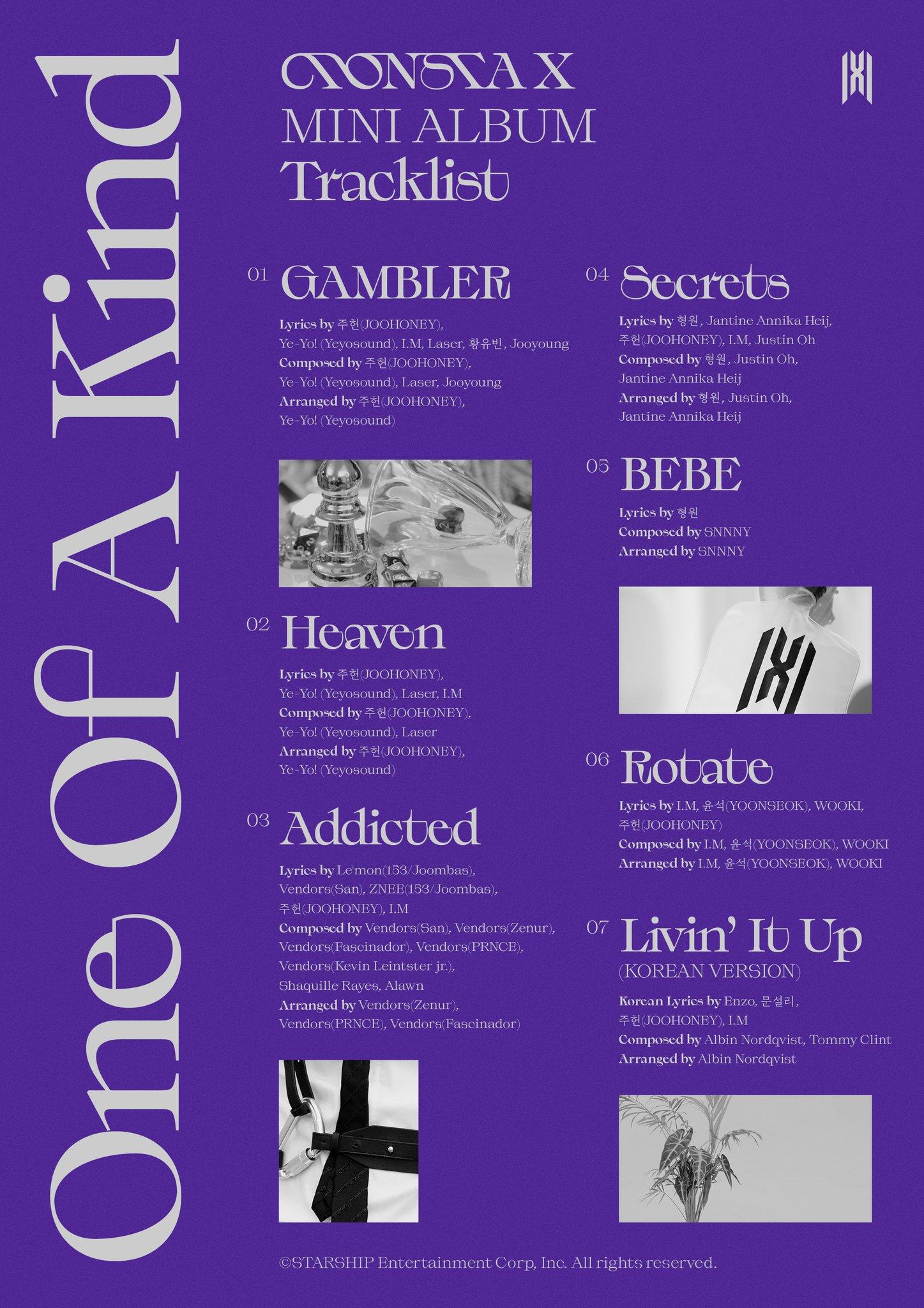 "MONSTA X Reveals Ravishing Tracklist For 9th Mini-Album ""One Of A Kind"""