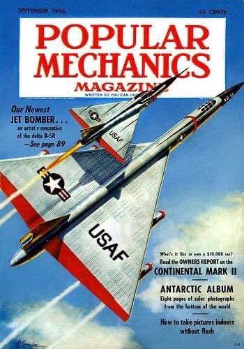 An artist's early rendition of the Convair B-58 Hustler - peak #jetage aviation   #vintageadvertising #convair #b58hustler #USAF #ColdWar #50s #popularmechanics https://t.co/jK8ZJJROZy