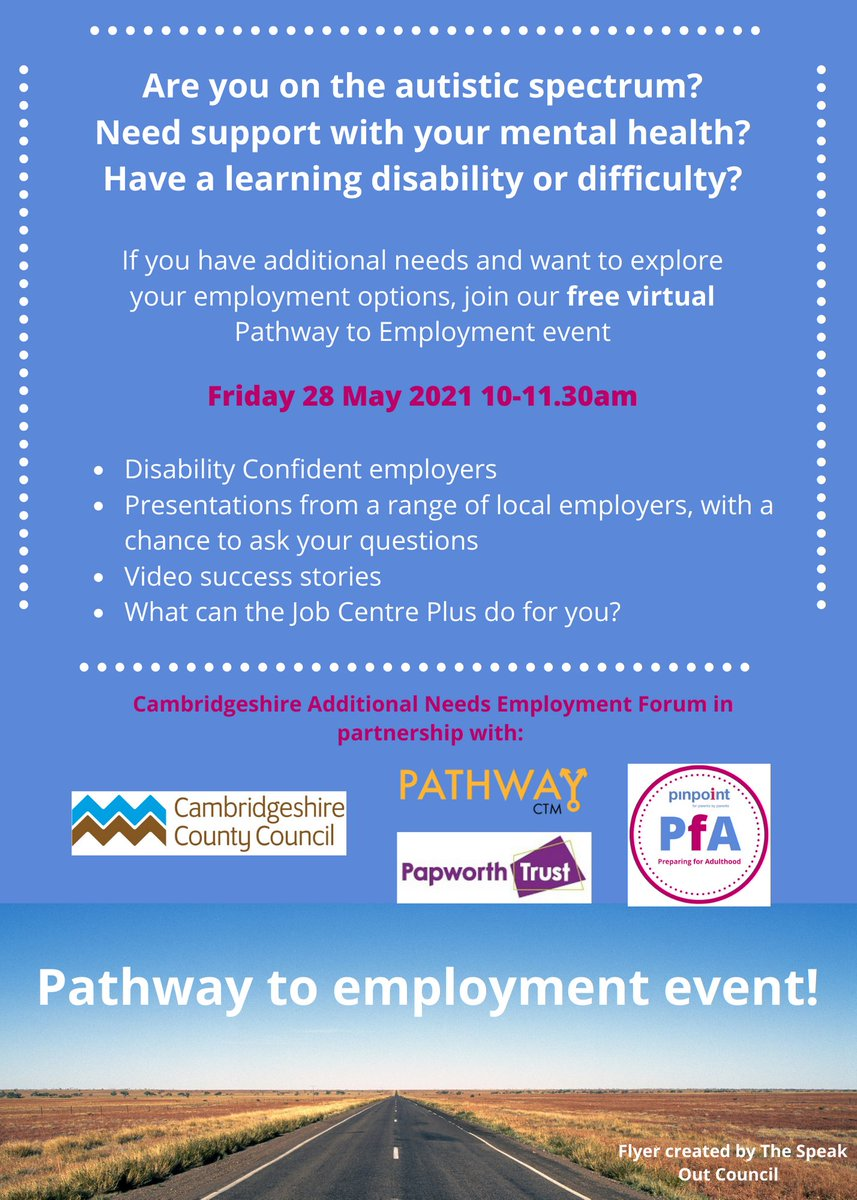 If you have additional needs and want to explore your employment options, join the free virtual Pathway to Employment event  Friday 28 May 2021 10-11.30am  Book here: https://t.co/w2ah7v24ov   #PreparingforAdulthood #PfA https://t.co/p2aQalQjxO