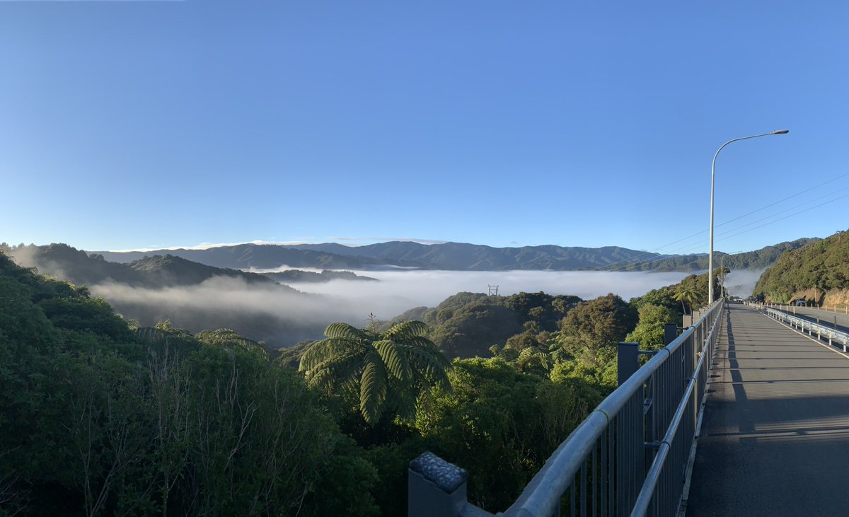 Very thick fog over Wainuiomata! Lovely at on the other side of hill!