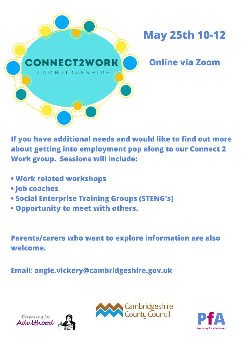 Do you have additional needs and want to find out more about getting into employment?  Come along to the next online Connect 2 Work group on 25th May, 10am-12pm.  Parents/carers also welcome.  Book your FREE ticket today: https://t.co/RKAFB4qGZk  #PfA #PreparingforAdulthood https://t.co/tjp5QzSRZK