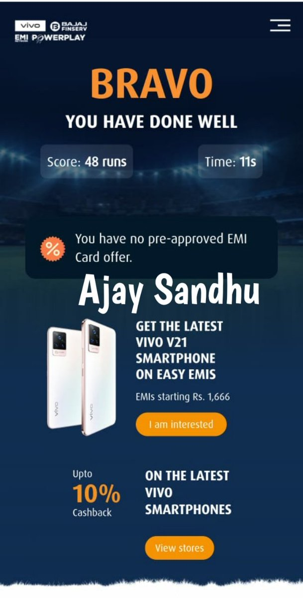 """My favourite feature in #vivoV21 is  """"Spotlight selfie shine brighter in low light""""  @Bajaj_Finserv & @Vivo_India EMIs is a Winning partnership because buy smartphone at Easy & low Cost EMI amount and also upto 10% cashback offers  #EMINetworkPowerplay  https://t.co/3kXxaxUIqZ https://t.co/HFfWrVD7Sx"""