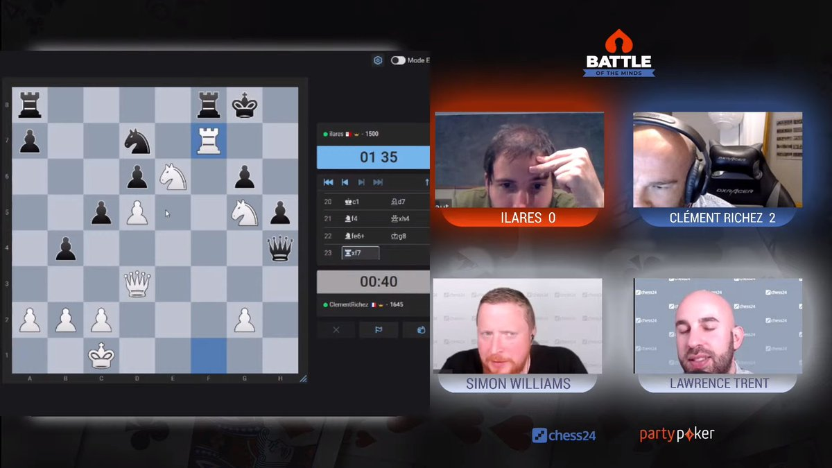 test Twitter Media - Clément went all-in with Rxf7 but ilares found the intermediate check Qe1+ and it was time to resign!  Clément 2-2 ilares!  📺https://t.co/djchGGpSR6 https://t.co/LJeCcxF5zh