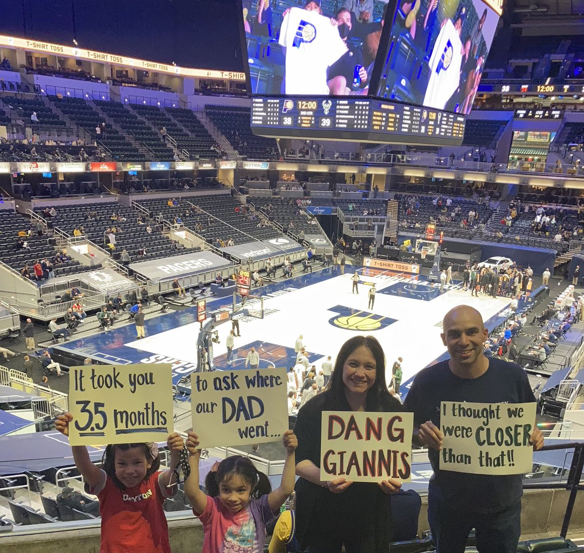 So @Giannis_An34 really wanted to know where I went and, well, here I am! First NBA game since last March in Denver. I enlisted my family to send our own message back to Giannis. 😂 https://t.co/pLcF7nCqEe