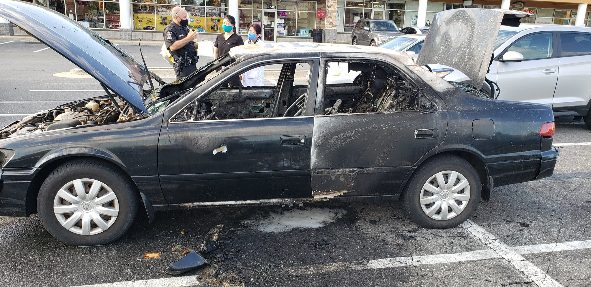 A driver smoking a cigarette burned their car completely.