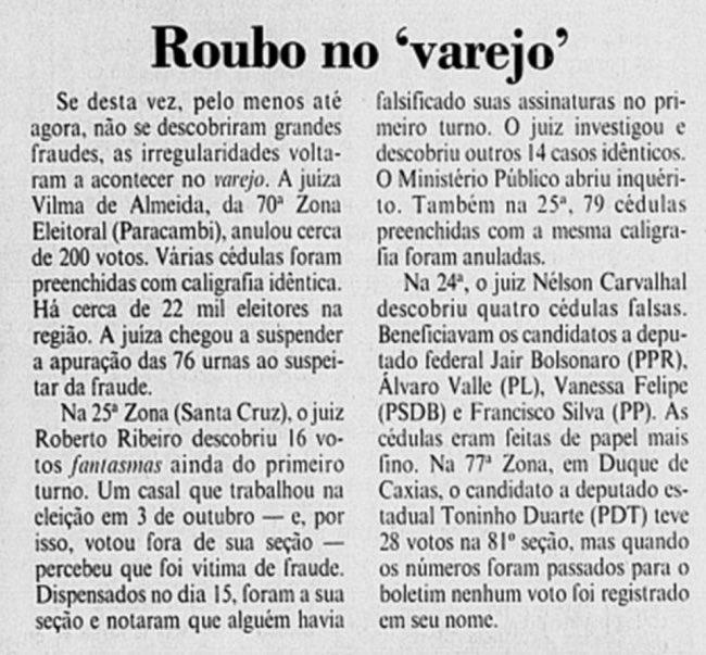 Bolsonaro Genocida se beneficiou com 1 voto a mais na época   Parece pouco, mas imagina 1 só votinho a mais em cada zona eleitoral do Brasil.  Pois é... https://t.co/NnX7Ejq3Sa
