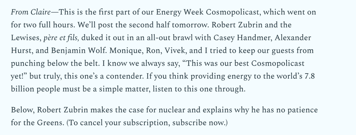Have a listen to Part 1 of the @cosmo_globalist #EnergyWeek debate! It's a gooder.   Plus, an excellent article by @robert_zubrin on nuclear energy.