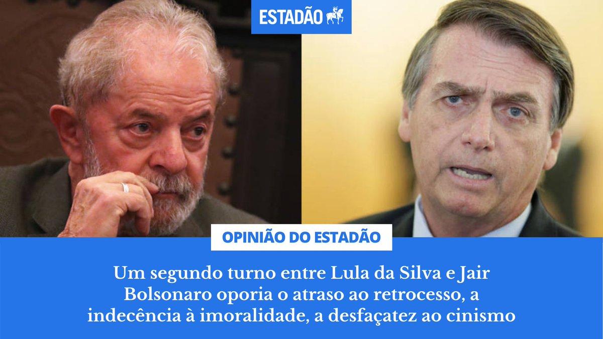 EDITORIAL: Um segundo turno entre Lula da Silva e Jair Bolsonaro oporia o atraso ao retrocesso, a indecência à imoralidade, a desfaçatez ao cinismo https://t.co/pw0sWk72il https://t.co/Ou9mb1X2g1