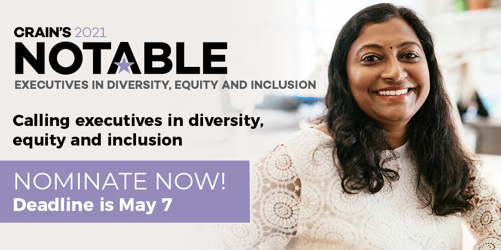 Last Chance to nominate a notable executive in diversity, equity and inclusion. Submissions close tonight!