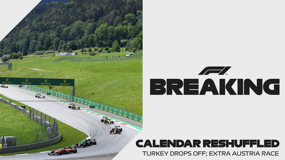 BREAKING: Due to travel restrictions, it is unfortunately not possible to race in Turkey in June  As a result, France moves a week earlier (18-20 June) and Austria will host a double header (25-27 June and 2-4 July)  #F1 https://t.co/T6u2uqfYDM