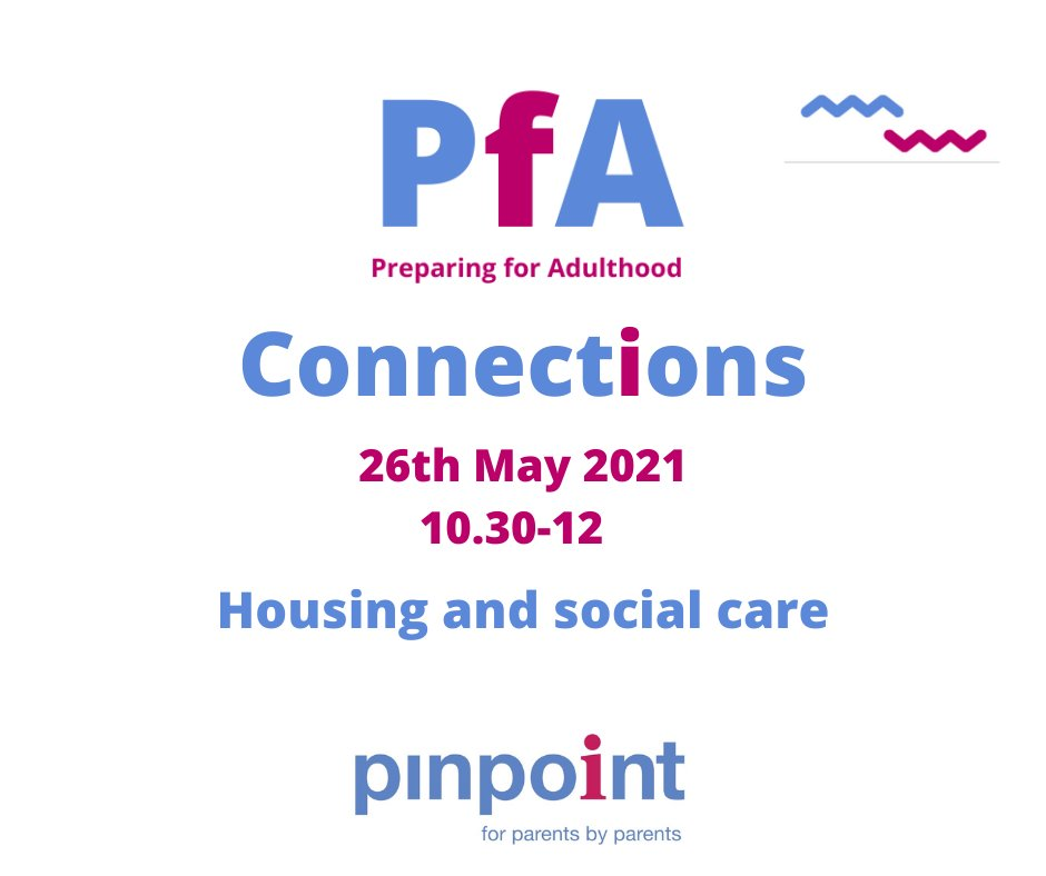 Our next Preparing for Adulthood Connections meet-up is coming up on 26th May at 10.30am.  Our theme will be housing and social care with a Q&A session with the relevant teams.  Book your free ticket today: https://t.co/l0e0Buzru0  #PfA #PreparingforAdulthood https://t.co/bh3SG0Nrnj