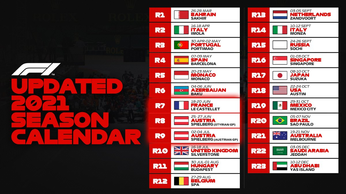 Your updated F1 calendar, now with two races in Austria and a slightly earlier race in France 🗓️  #F1 https://t.co/KmFYDnCL4b