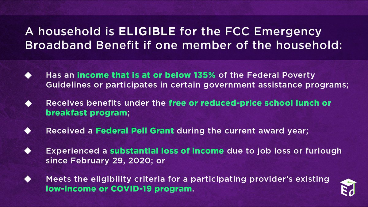 🚨Enrollment for @FCC's Emergency Broadband Benefit is NOW OPEN! 🚨   You may be eligible for a discount of up to $50/month on your broadband service. #BroadbandForAll @MassDHE