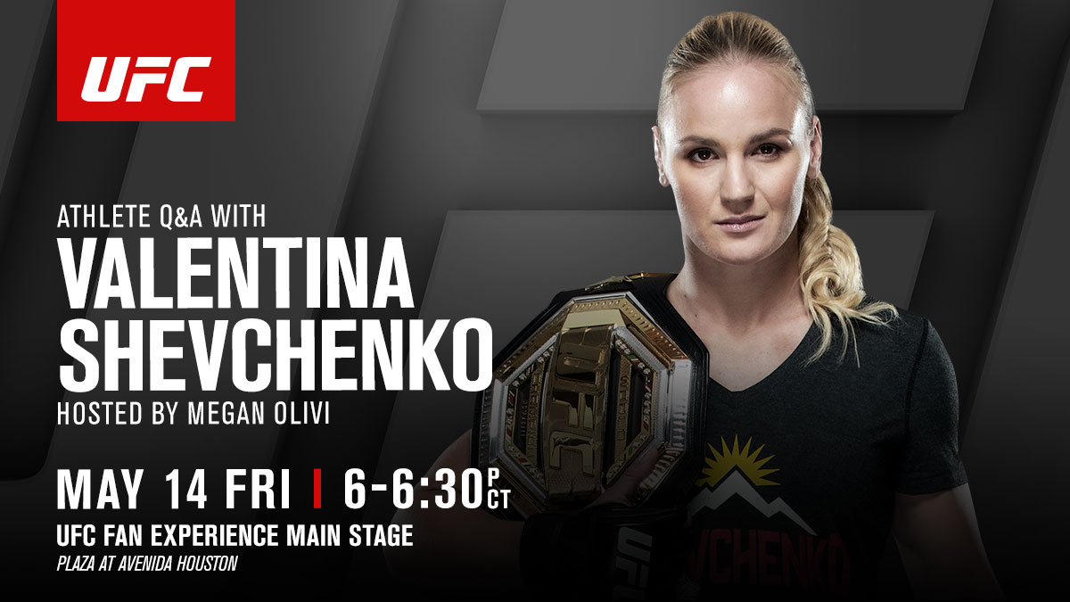 🚨 Houston, the champ @BulletValentina is here 🚨   Join her for a live Q&A later today at the #UFC262 Fan Experience 💪  [ Hosted by @MeganOlivi   @AvenidaHouston ] https://t.co/302w19ganh
