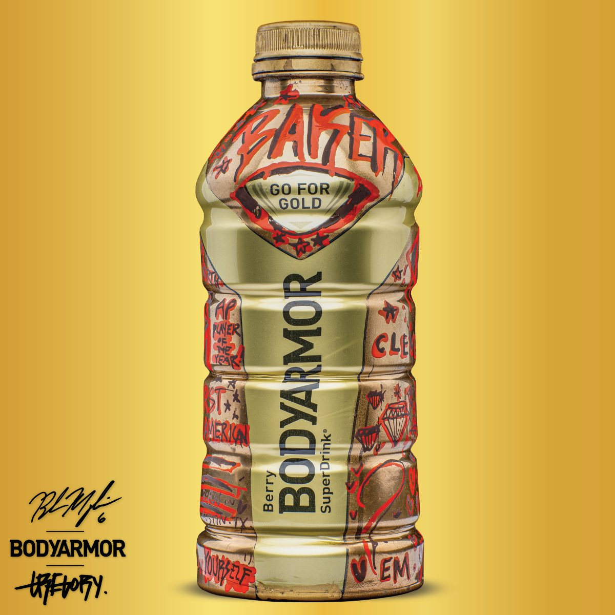 Teamed up with @DrinkBODYARMOR & @GregorySifffor this signed, custom hand-painted Gold Berry bottle ALL proceeds will be donated to @clevekids! Auction is LIVE until 5/22 BID NOW: https://t.co/nno39T7NJb https://t.co/ZIIwo82u5P